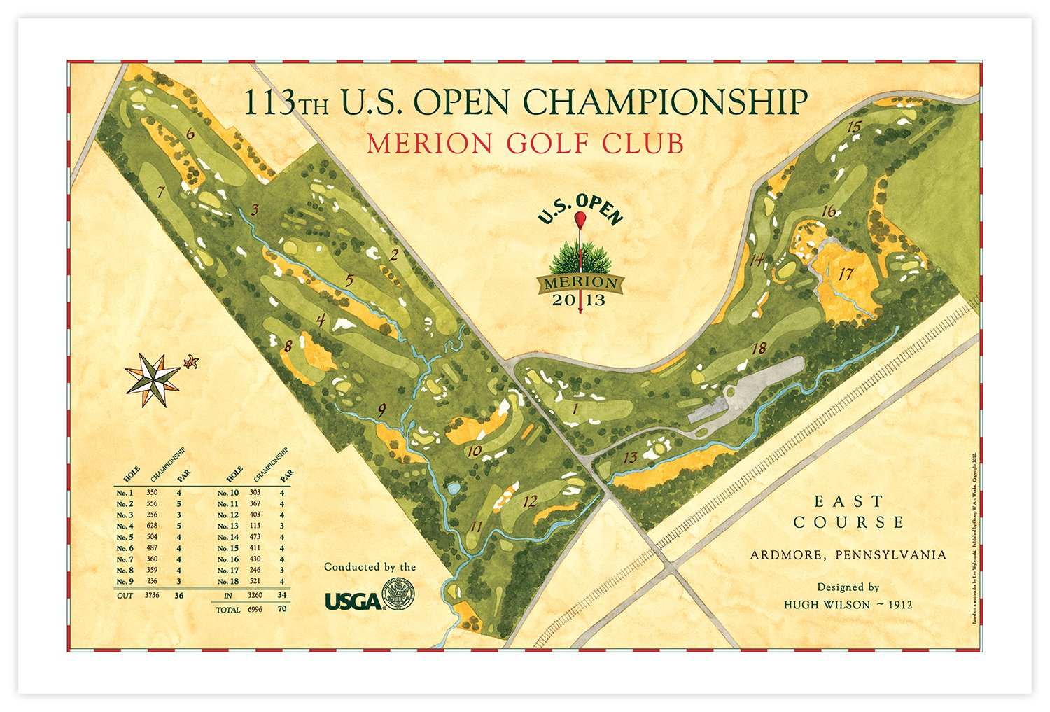 Us Open Course Map Signed 2013 U.S. Open Course Map of Merion Golf Club